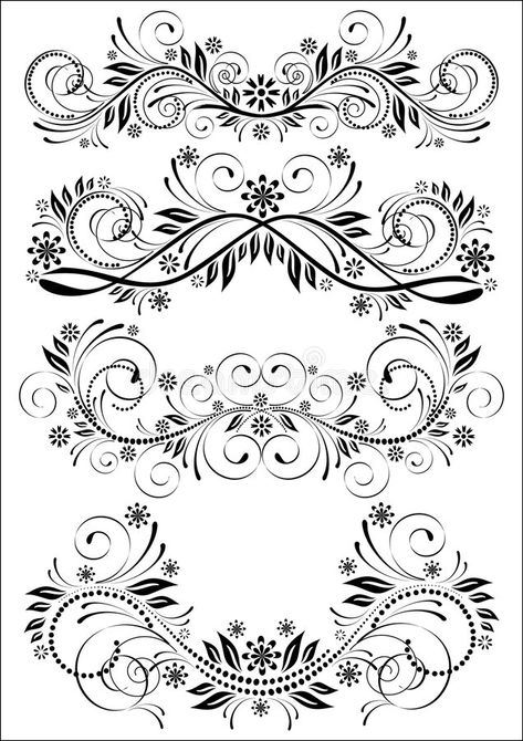 Set of vintage patterns. Black and white set of vector vintage floral patterns , #sponsored, #patterns, #Black, #Set, #vintage, #vector #ad