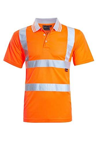Mens Hi Vis VIZ Visibility Polo Contrast 2 Two Tone Workwear Tshirt Tee Top