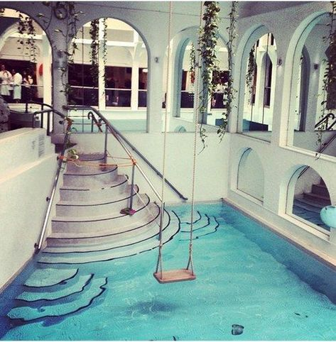 A swing over your indoor pool! I want one a swing over my pool in my dream house Future House, My House, Piscina Interior, Indoor Pools, Dream Pools, Cool Pools, Awesome Pools, Amazing Swimming Pools, Swimming Pool Designs