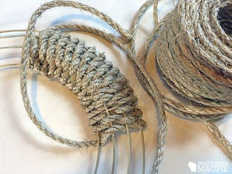 wrapping sisal rope around metal wreath frame Rope Crafts, Burlap Crafts, Wreath Crafts, Diy Wreath, Mesh Wreaths, Burlap Wreaths, Yarn Wreaths, Floral Wreaths, Wreath Ideas