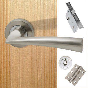 Mars Bathroom Door Handle Pack Polished Chrome Satin Nickel Door Handles Bathroom Doors Bathroom Door Handles