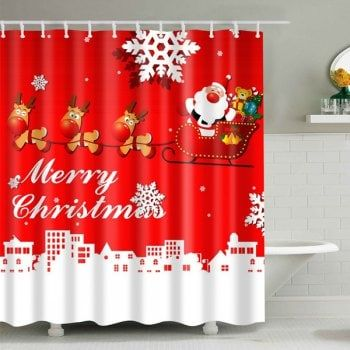 Christmas Santa Coming Waterproof Shower Curtain Christmas