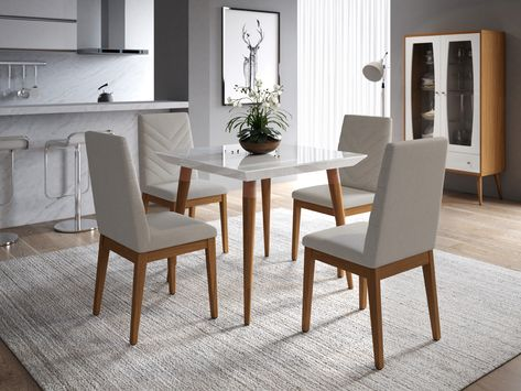Smart Solutions For Small Living Spaces Manhattan Comfort S 36 Inch Wide Utopia Bevel Top Dining Table And Catherine Che Square Dining Tables Dining Chairs Dining Room Sets