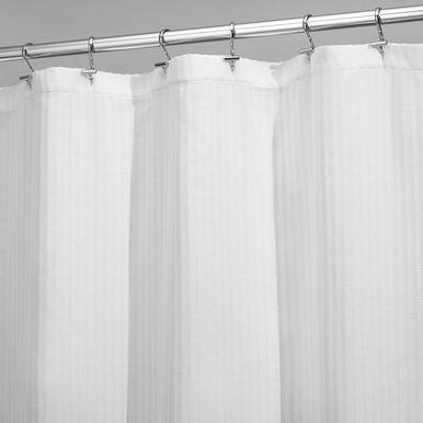 Long Herringbone Weave Shower Curtain 72 X 84 White Fabric