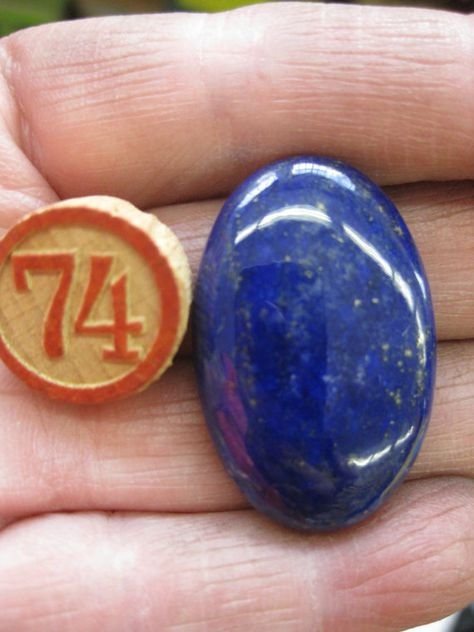 Lapis Lazuli Polished Stone Cabochon34x22mm by dimestoreemporium, $15.00