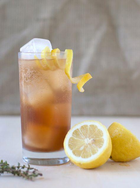 Dick Clark (serves 1)    1.5 oz. Kraken Dark Rum | .75 oz. fresh lemon juice | .75 oz. thyme syrup | 3dashes Angostura Bitters | Club Soda | Lemon peel, for garnish