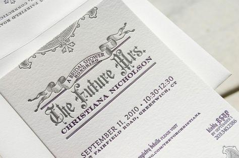 bridal shower letterpress