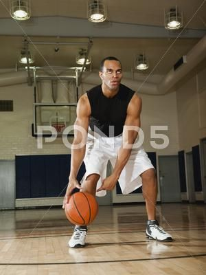 Mixed Race Man Playing Basketball On Basketball Court Stock Photos Ad Man Playing Mixed Race Basketball Court Basketball Stock Photos