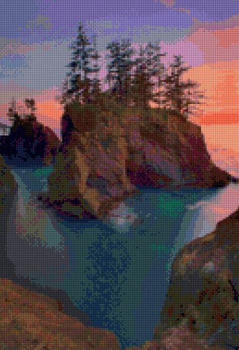 Oregon Coast Haystack Rocks at Sunset landscape Cross Stitch pattern PDF - Instant Download! by PenumbraCharts on Etsy