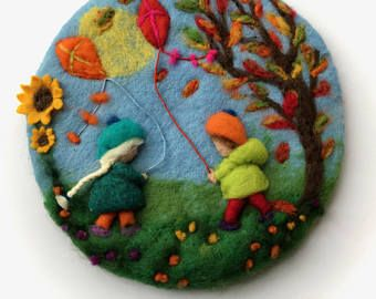 Autumn children ,Picture,tapestry,Wet felted,Needle Felted. Waldorf.