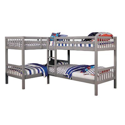 Harriet Bee Lyme Quadruple Twin Over Twin Bunk Bed Bed Frame Colour Grey Bunk Beds Twin Bunk Beds Bunk Bed With Trundle