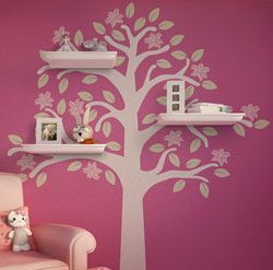 Flowering Tree Shelves Decal for a kids room