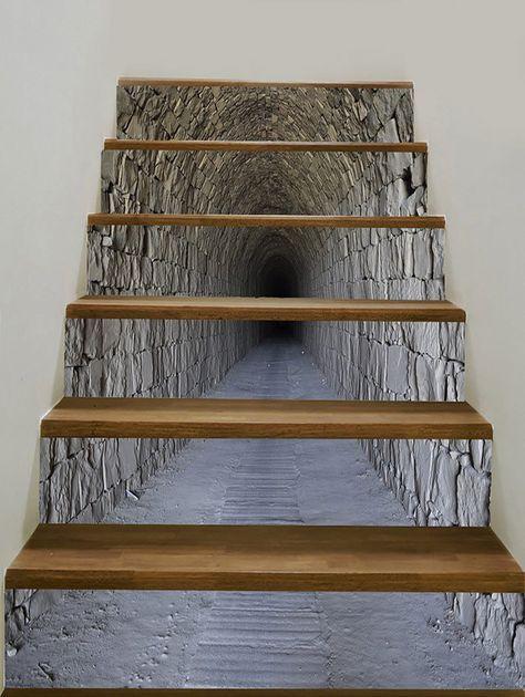 Tunnel Cave Pattern Floor Decor Stair Decals Escaleras