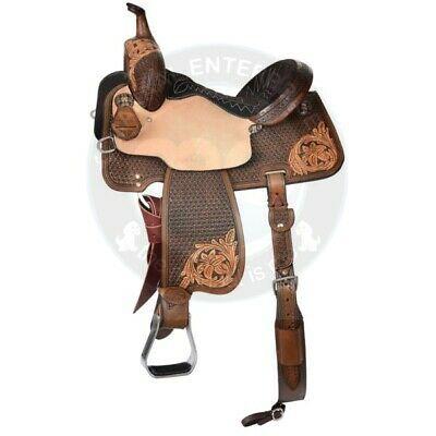 Youth Child Pony Miniature Premium Leather Western Barrel Racing Horse Saddle