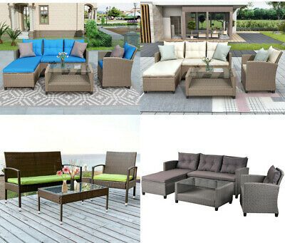 4 5pcs Outdoor Conversation Set Wicker Sectional Sofa In 2020 Modern Sofa Set Couch Dining Table Patio Lounge Chairs