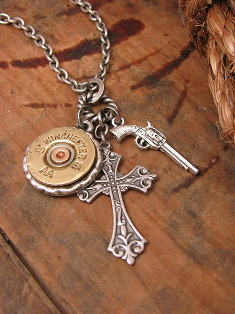 """Shotgun Casing Jewelry - Winchester 20 Gauge - """"God and a Gun"""" Charm Necklace - Shotshell, Pistol Charm and Crucifix"""