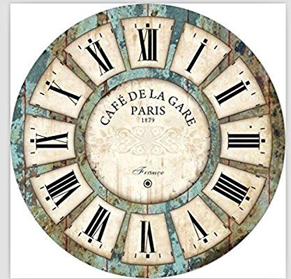 Amazon Com 16 In Vintage Roman Numeral Design Wood Clock Eruner France Paris Cafe De La Gare Colourful French Par Vintage Clock Wall Clock Clock Printable