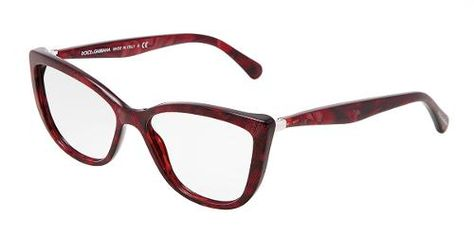 91a385f97f Dolce   Gabbana Eyewear  model 3138 - Women Ophthalmic Collection. Cat-eye  Glasses with Red Frame in Plastic.