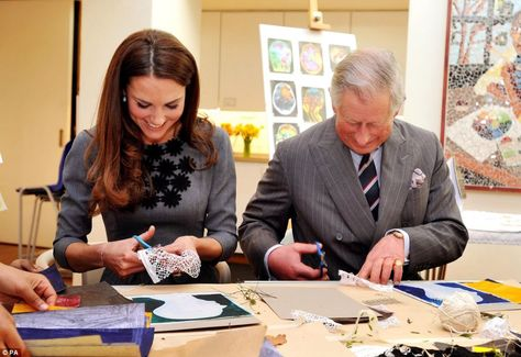 Duchess Kate and Prince Charles taking part in a children's art class at the Dulwich Picture Gallery