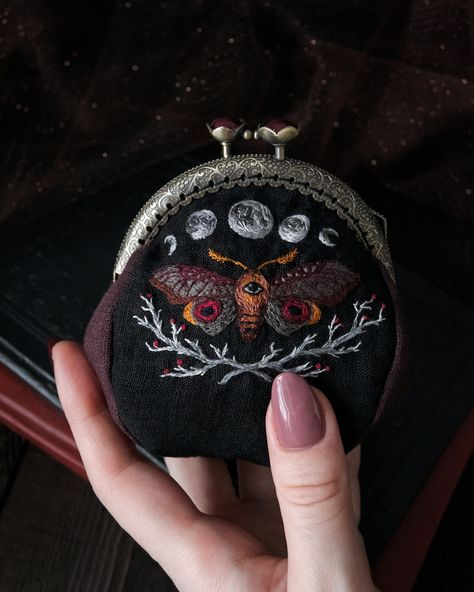Treasure purse Embroidered magic Moon phases embroidery Moth Creepy cute Handmade purse with clasp - This purse with Moon phases and Illusory moth is finally available on Etsy!✨ ⠀ The idea to make - Diy Embroidery, Cross Stitch Embroidery, Embroidery Patterns, Cross Stitches, Stitch Patterns, Handmade Purses, Creepy Cute, Moon Phases, Needlework