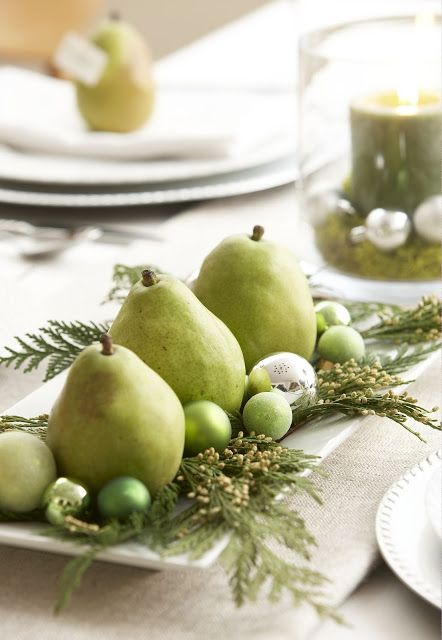 Pear centerpiece - pears, incense cedar, Christmas balls.