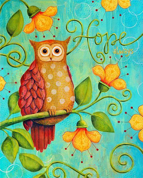 Hope Always Owl. Mixed-Media Art Print by Karla Dornacher