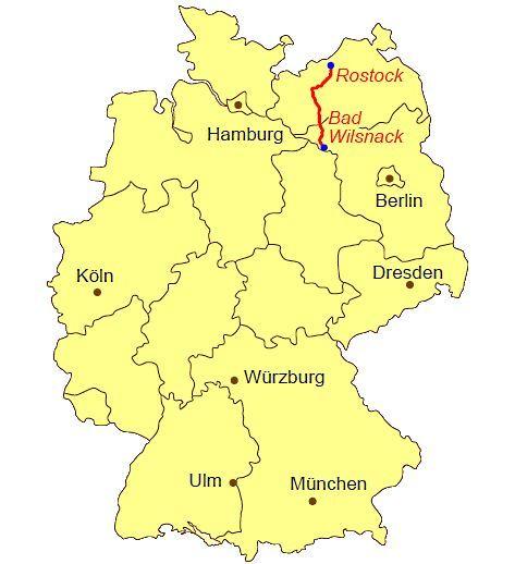 Ubersichtskarte Jakobsweg Rostock Bad Wilsnack Karte