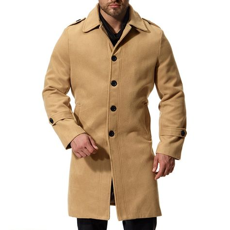 Allywit Mens Wool Single Breasted Winter Trench Jacket Woolen Coat Big and Tall