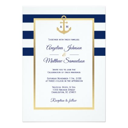 Elegant Navy Blue White Gold Nautical Wedding Invitation Zazzle Com Nautical Wedding Invitations Nautical Wedding Navy Wedding Invitations
