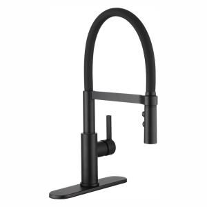 Glacier Bay Statham Single Handle Rubber Hose Spring Neck Kitchen Faucet With Turbospray And Fastmount In Matte Black Hd67859 0010h The Home Depot In 2020 Black Kitchen Faucets Kitchen Faucet Faucet