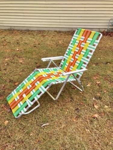 Vtg Multi Colored Aluminum Webbed Folding Chaise Lounge Lawn Chair Aluminum Arms Green Chaise Lounge Lawn Chairs Lawn Chaise