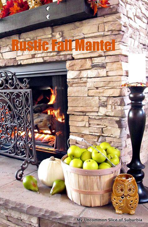 rustic fall mantel