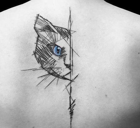 Tatuaje De Mitad De Rostro De Gato Tatuaje Geometrico De Gato Tatuaje Gato Tatuaje Silueta Gato
