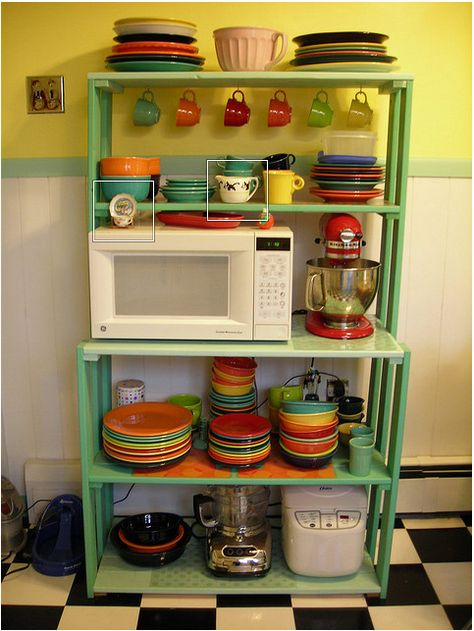 Baker's Rack- dishes and appliances in the kitchen