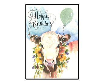 Birthday Card Jersey Cow Birthday Card Farm Animal Birthday Etsy Cow Birthday Farm Animal Birthday Animal Birthday
