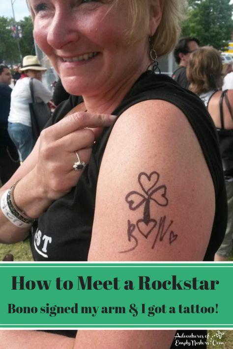 A U2 Adventure :: How I Met Bono and Got a Tattoo | https://www.adventuresofemptynesters.com/a-u2-adventure-how-i-met-bono-and-got-a-tattoo/