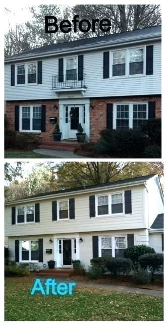 Grey Painted Brick House How Much To Paint Brick House House Cost To Paint Brick House White Co In 2020 Brick Exterior House Home Exterior Makeover Painted Brick House