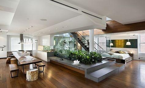 offene küche trennen glastür küchenregale schwarze küchenfronten - offene küche wohnzimmer abtrennen