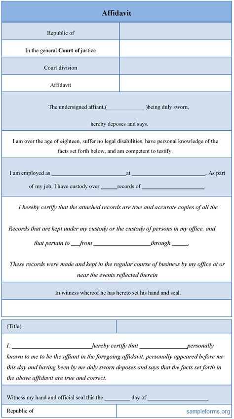 General Affidavit Form General Affidavit Form  Affidavit Forms