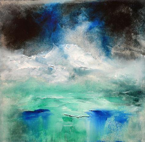 Abstract Ocean Painting – Misty Island oil painting by Niki Katiki