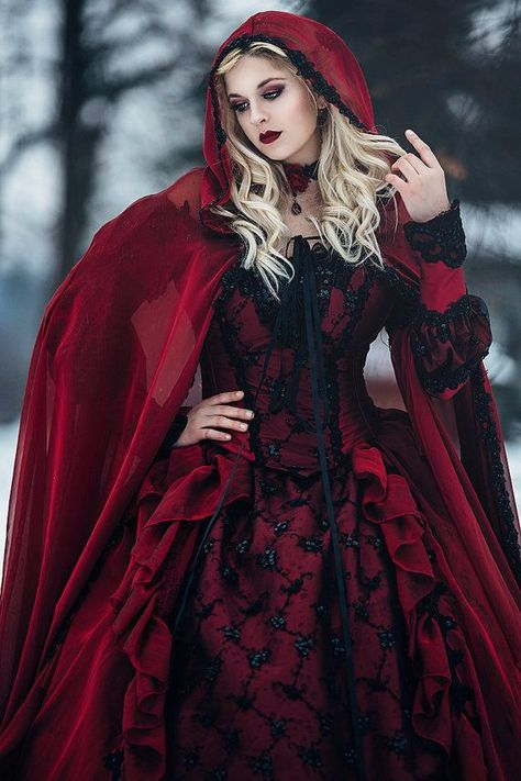 Gothic Winter Wedding Sleeping Beauty Red and Black Sparkle Fantasy Set with Cape Custom
