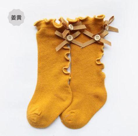 Farley bow lace socks - yellow ear bow / 12M