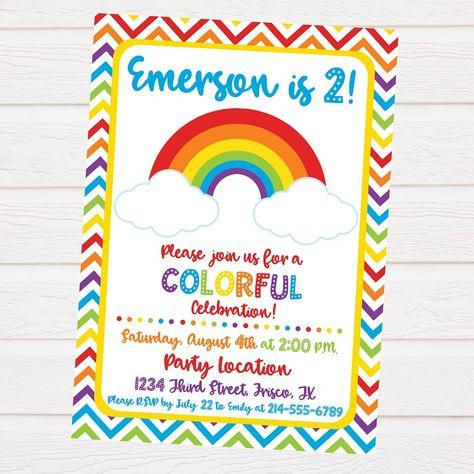 Rainbow Party Invitation Template Free Invitation Card Pinterest