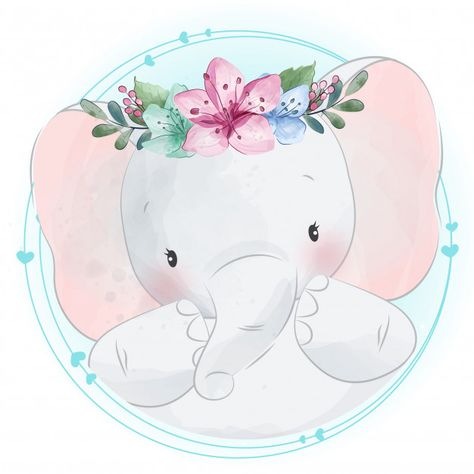 Cute Little Elephant With Floral Portrait