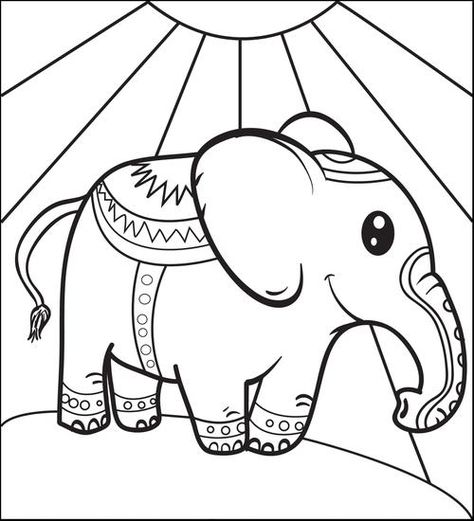 Circus Elephant Coloring Page 1 Elephant Coloring Page