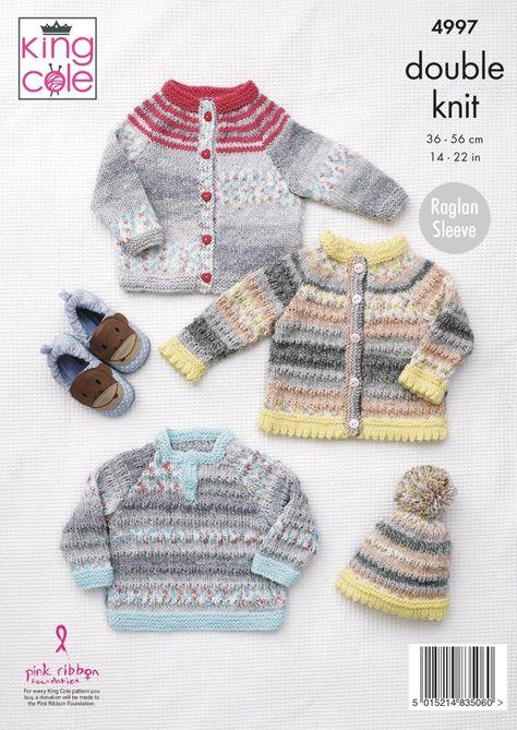 Easy Knit Hoody Cardigan Jumper Double Knitting Pattern King Cole Baby DK 4549