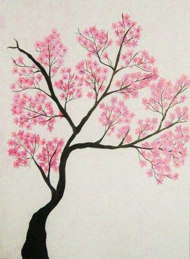 Cherry Tree Pattern Cherry Blossom Drawing Tree Drawing Tree Illustration