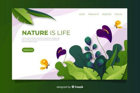 Flat nature landing page template Free V... | Premium Vector #Freepik #vector #flower #business #floral #template