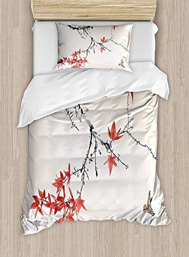 Japanese Duvet Cover Set Twin Size Cherry Blossom Sakura Tree Branches Romantic Spring Themed Watercolor Duvet Cover Sets Duvet Covers Decorative Duvet Cover
