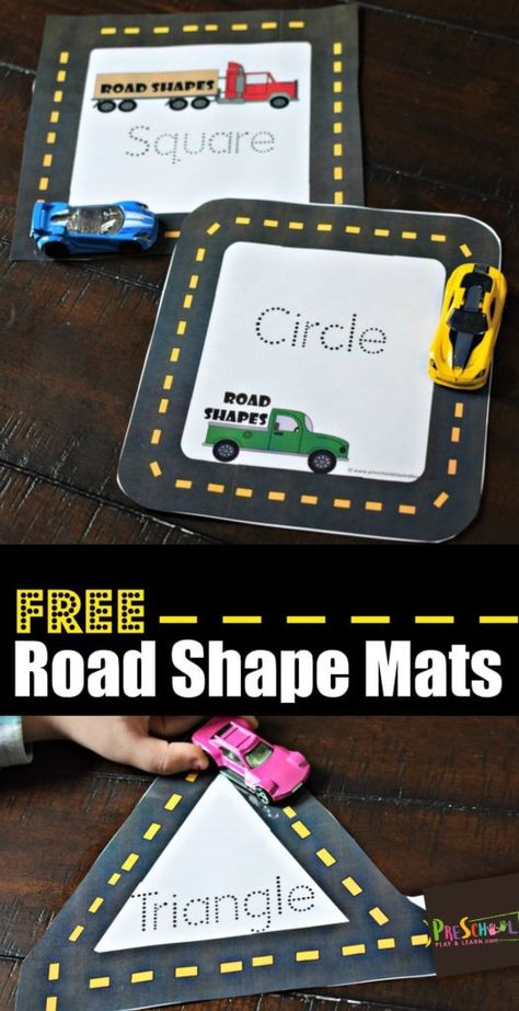 FREE Road Shape Mats - this is such a fun, hands on math activity for preschoolers who are working on learning shapes! Kids will love using hot wheels to trace shapes #shapes #preschool #mathactivity